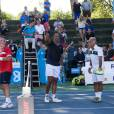 Henri Leconte, Pat Cash, Mansour Bahrami et Yannick Noah lors de la sixième édition de l'Optima Open à Knokke en Belgique, le 16 août 2015.
