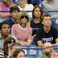 Anna Wintour sur le court Athur Ashe à l'USTA Billie Jean King National Tennis Center de New York lors de l'US Open, le 1er septembre 2015
