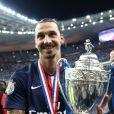 Zlatan Ibrahimovic après la victoire du PSG sur Auxerre au Stade de France à Saint-Denis le 30 mai 2015