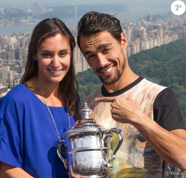 Flavia Pennetta et son chéri Fabio Fognini à New York après la victoire à l'US Open le 13 septembre 2015.