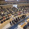 Le roi Carl XVI Gustaf de Suède, la reine Silvia, la princesse Victoria, enceinte, le prince Daniel, le prince Carl Philip, la princesse Sofia et la princesse Madeleine étaient réunis le 15 septembre 2015 au Parlement suédois (Riksdag) pour la cérémonie d'ouverture officielle de la session parlementaire.