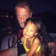 Johnny Hallyday avec sa fille Joy à Saint-Barthélemy, août 2015.