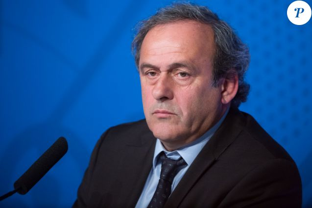 Michel Platini lors de la conférence de presse pour l'ouverture de la billetterie de l'Euro 2016 à Paris, le 10 juin 2015