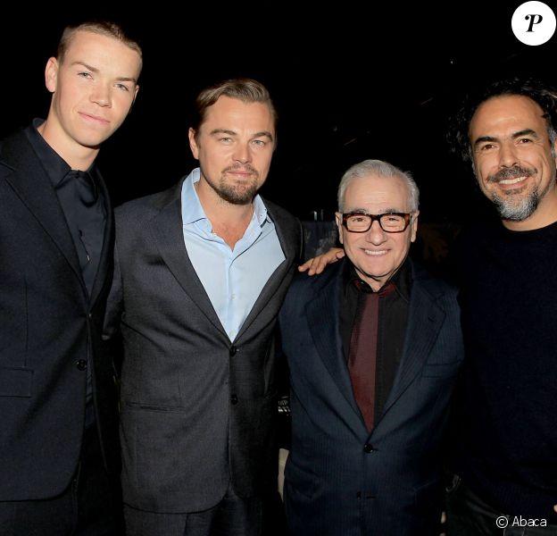 Will Poulter, Leonardo DiCaprio, Martin Scorsese, Alejandro Gonzalez Inarritu lors d'une projection spéciale de The Revenant à New York le 24 novembre 2015.