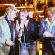 Johnny Hallyday, Gérard Depardieu et Eddy Mitchell sur le plateau de l'émission Palmarès 80 en novembre 1980 à Paris