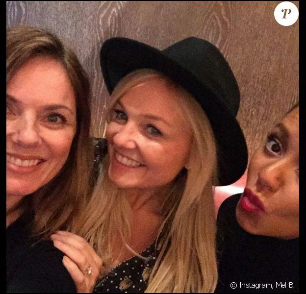 Geri Halliwell, Emma Bunton et Mel B, réunies le 9 décembre 2015.