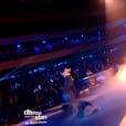 Loïc Nottet, Denitsa Ikonomova et Marie-Claude Pietragalla, dans la demi-finale de  Danse avec les stars 6 , le vendredi 18 décembre 2015 sur TF1.