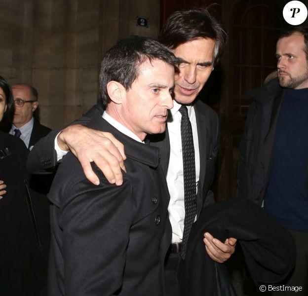 Fleur Pellerin, Manuel Valls et Laurent Bayle à la cérémonie organisée en hommage à Pierre Boulez, décédé le 5 janvier 2016 à Baden-Baden, en l'église Saint-Sulpice à Paris, le 14 janvier 2016.