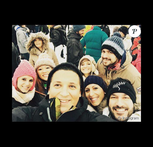 Nathalie N'Guyen, Quentin Bourdy, Noémie Honiat, Vanessa Robuschi, Adel Dakkar, Denny Imbroisi et Silvia Notargiacomo (Danse avec les stars), en Haute-Savoie à l'occasion du Festival international de gastronomie, le lundi 18 janvier 2016.