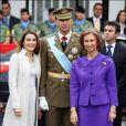 Letizia, Felipe et la Reine Sofia à la fête nationale espagnole, le 12/10/08