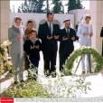La princesse Aisha, la princesse Muna, la reine Noor et le prince Faisal et sa famille se recueillant le 14 novembre 2002 à la mémoire du roi Hussein.