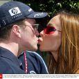 Ralf Schumacher avec sa femme Cora à Melbourne, le 6 mars 2003.