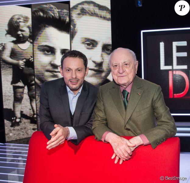 """Exclusif - Pierre Bergé et Marc-Olivier Fogiel, lors de l'enregistrement de l'émission """"Le Divan"""", le 11 février 2016, pour une diffusion sur France 3 le 23 février 2016 à 23h10. © Cyril Moreau"""
