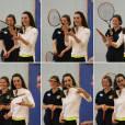 """Kate Middleton a apporté son concours très volontaire à Judy Murray, mère de Jamie et Andy Murray, au lycée Craigmount d'Edimnourg le 24 février 2016 lors de l'opération """"The Roadshow"""" de son programme Tennis on the Road."""