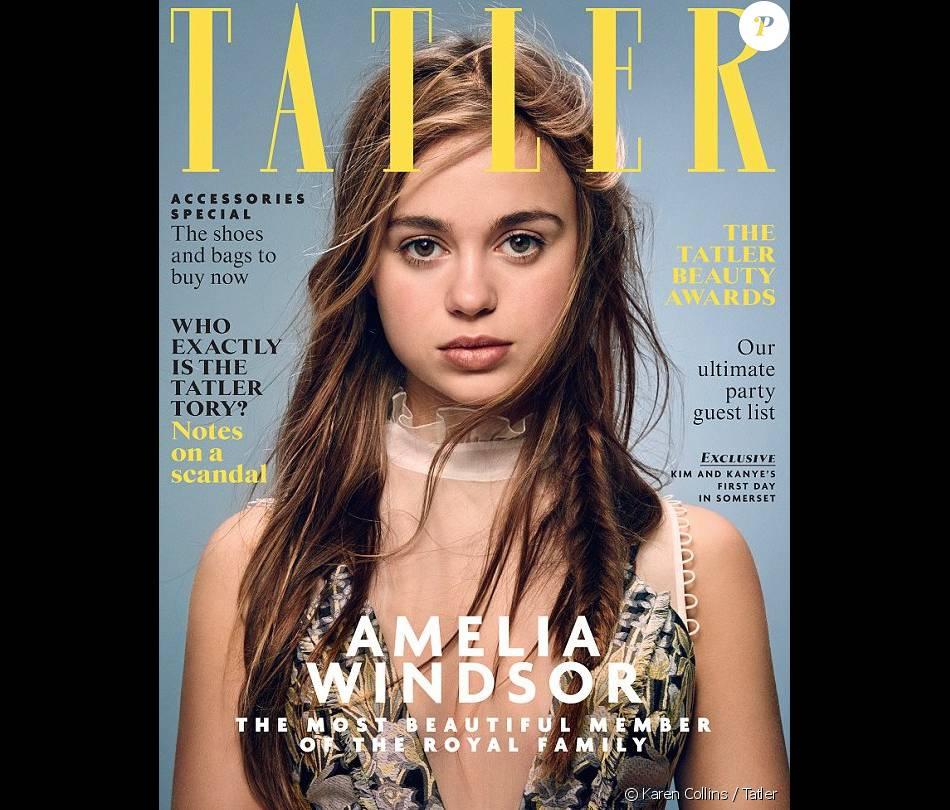 """Lady Amelia Windsor en couverture de Tatler, avril 2016. La """"plus belle membre de la famille royale britannique"""", proclame la revue."""
