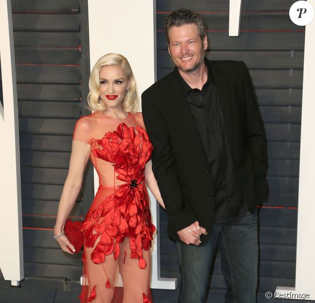 """Gwen Stefani et son compagnon Blake Shelton à la soirée """"Vanity Fair Oscar Party"""" après la 88ème cérémonie des Oscars à Hollywood, le 28 février 2016."""