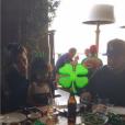 """""""Kris Jenner et North West célèbrent l'anniversaire de Rob Kardashian Jr. au restaurant Nobu de Malibu. Photo publiée sur le compte Snapchat de Kim Kardashian, le 17 mars 2016."""""""