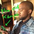 """""""Kanye West lors del'anniversaire de Rob Kardashian Jr. au restaurant Nobu de Malibu.Photo publiée sur le compte Snapchat de Kim Kardashian, le 17 mars 2016."""""""
