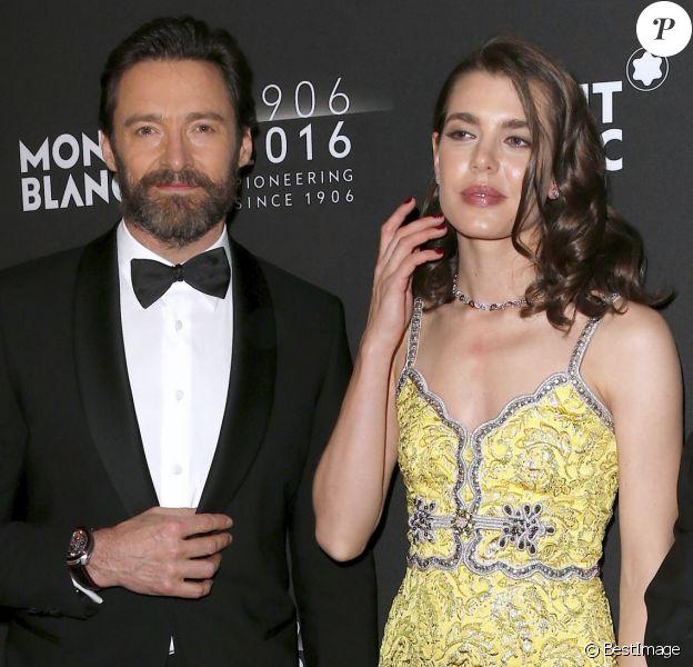 Hugh Jackman, Charlotte Casiraghi (robe Gucci) et CEO Jerome Lambert - Soirée du 110ème anniversaire de Montblanc à New York le 5 avril 2016.