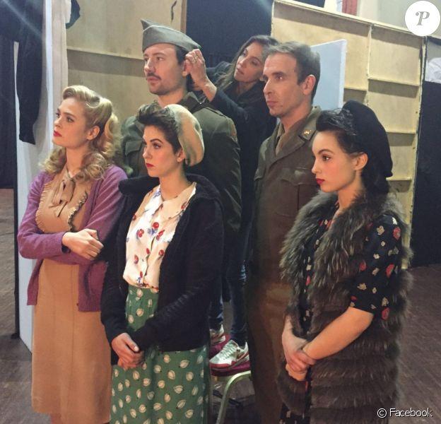 Alice Raucoules et la troupe de Un Été 44. (Tomislav Matosin, Barbara Pravi, Philippe Krier, Sarah-Lane Roberts et Nicolas Laurent) Facebook. Avril 2016
