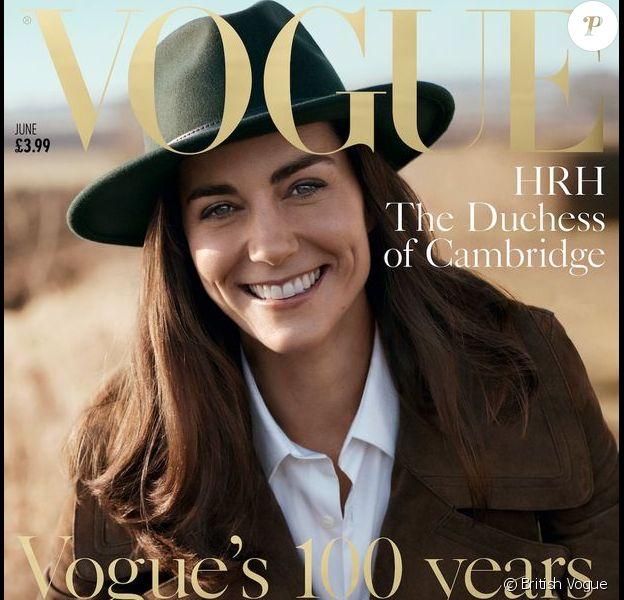 Kate Middleton en couverture de Vogue UK, pour l'édition qui célèbre le centenaire du magazine, en kiosque le 5 mai 2016.