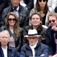 Anne-Claire Coudray et son compagnon Nicolas Vix, Jean-Claude Narcy dans les tribunes des internationaux de France de Roland Garros à Paris le 4 juin 2016. © Moreau - Jacovides / Bestimage04/06/2016 - Paris
