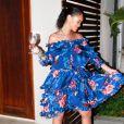 Rihanna, craquante en robe Faith Connexion et sandales Gucci, se détend en vacances sur les îles Turques-et-Caïques. Juin 2016.