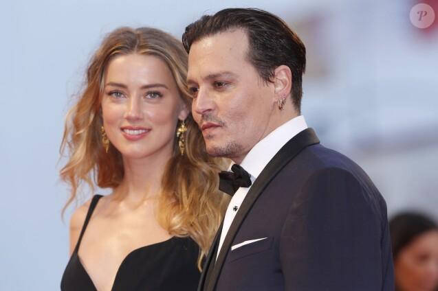 Amber Heard et son mari Johnny Depp - Première du film Black Mass (Strictly Criminal) lors du 72e festival du film de Venise, le 4 septembre 2015.