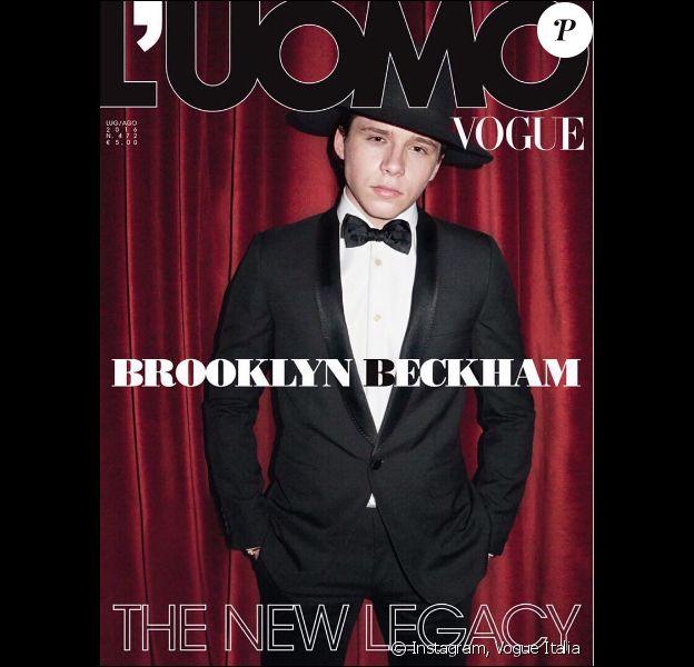 Brooklyn Beckham en couverture du nouveau numéro (juillet-août 2016) de L'Uomo Vogue. Photo par Terry Richardson.
