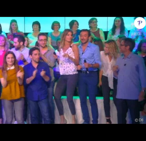 """L'équipe du """"Grand 8"""" rend hommage à Laurence Ferrari et ses chroniqueuses en chanson, pour la dernière diffusée le 30 juin 2016, sur D8"""
