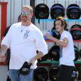 René-Charles Angélil, le fils de Céline Dion, passe l'après-midi à faire des courses de kart à Boissy-l'Aillerie près de Cergy Pontoise le 22 juin 2016.