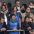 Thomas Hollande et sa compagne Emilie Broussouloux lors du match du quart de finale de l'UEFA Euro 2016 France-Islande au Stade de France à Saint-Denis, France le 3 juillet 2016. © Cyril Moreau/Bestimage