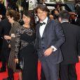 Giuseppe Polimeno et sa petite amie Hinda arrivent au Palais des Festivals pour le film Jimmy's Hall lors du 67e Festival de Cannes, le 22 mai 2014
