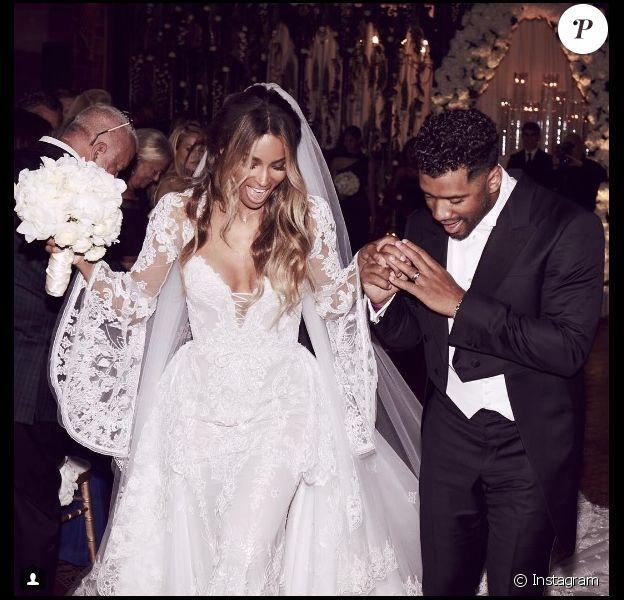 Ciara et Russell Wilson lors de leur mariage à Liverpool le 6 juillet 2016