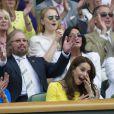 Kate Middleton, duchesse de Cambridge, dans les tribunes du tournoi de Wimbledon à Londres, le 7 juillet 2016.