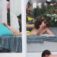 """Dakota Johnson, topless, sur le tournage du film """"50 nuances plus sombres"""" dans le sud de la France à Saint-Jean Cap Ferrat le 12 juillet 2016."""