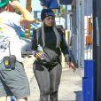 Exclusif - Blac Chyna enceinte et son fiancé Rob Kardashian à la sortie d'un studio d'enregistrement à Los Angeles, le 7 juillet 2016