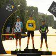 Romain Bardet, Christopher Froome, Nairo Quintana, le podium final du Tour de France 2016, sur les Champs-Élysées à Paris le 24 juillet 2016 à l'issue de la dernière étape. © Coadic Guirec / Bestimage