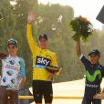 Romain Bardet, Christopher Froome, Nairo Quintana lors de l'arrivée du Tour de France 2016 sur les Champs-Élysées à Paris le 24 juillet 2016. © Coadic Guirec / Bestimage