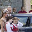 La princesse Martha Louise, son mari Ari Behn et leurs filles Maud Angelica Behn, Leah Isadora Behn et Emma Tallulah Behn - La famille royale de Norvège lors du jubilé de 25 ans de règne du roi Harald de Norvège à Trondheim, le 23 juin 2016. Le couple a annoncé son divorce le 5 août 2016, après 14 ans de mariage.