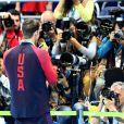Michael Phelps médaille d'or du 200m masculin quatre nages individuel aux Jeux Olympiques (JO) de Rio 2016 à Rio de Janeiro, Brésil, le 11 août 2016