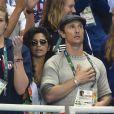 Matthew McConaughey et Camilla Alves regardent la natation aux Jeux olympiques de Rio de Janeiro, le 11 août 2016.