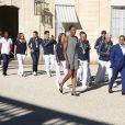 Les membres de la délégation olympique arrivent au palais de l'Elysée pour être reçu par le président de la République François Hollande pour une réception à Paris le 23 août 2016. La délégation vient de rentrer des Jeux Olympiques de Rio de Janeiro. © Denis Guignebourg/Bestimage