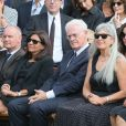 Christophe Girard, Anne Hidalgo, Lionel Jospinlors des obsèques de Sonia Rykiel au cimetière de Montparnasse à Paris, le 1er septembre 2016.