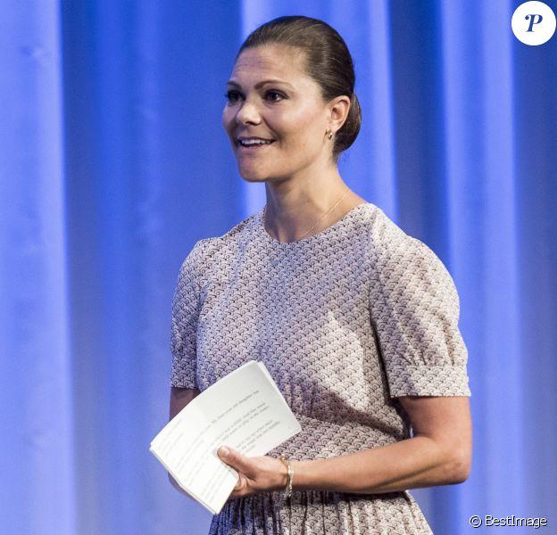 La princesse Victoria de Suède intervenait lors de la conférence Building a Resilient Future Through Water dans le cadre de la World Water Week à Stockholm, le 1er septembre 2016.