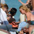 Lindsay Lohan et Dennis Papageorgiou à la plage Kalo Livadi à Mykonos, le 31 août 2016