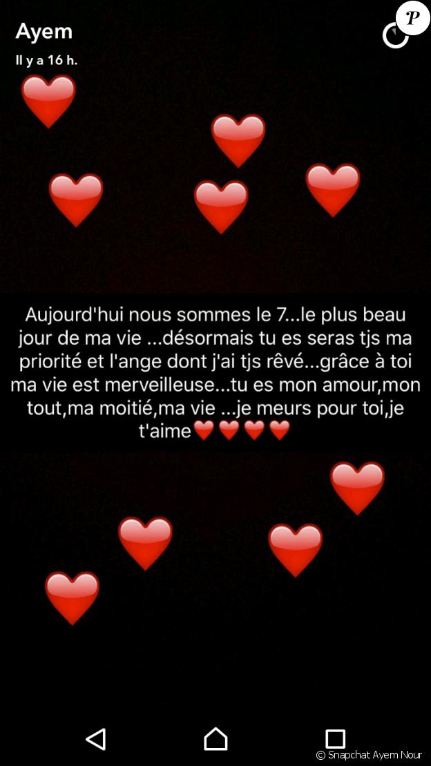 Ayem Nour déclare son amour à son fils, sur Snapchat, mercredi 7 septembre 2016