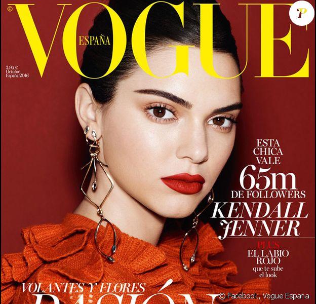 Kendall Jenner en couverture du numéro d'octobre 2016 de Vogue España. Photo par Miguel Riveriego.