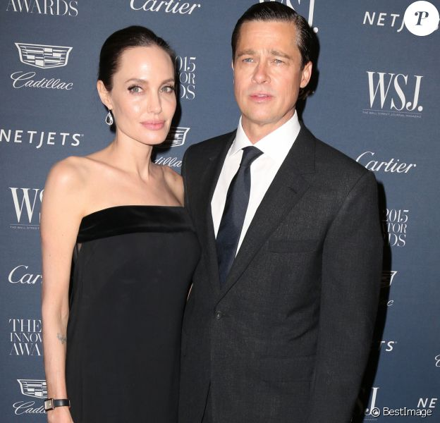 Angelina Jolie et son mari Brad Pitt à la soirée 'WSJ. Magazine 2015 Innovator' à New York, le 4 novembre 2015  Celebrities at the WSJ. Magazine 2015 Innovator Awards in New York City, New York on November 4, 201504/11/2015 - New York
