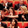 Vincent Lindon, Quentin Tarantino, Daniela Pick, Gérard Collomb, Chiara Mastroianni et Catherine Deneuve lors de la remise du Prix Lumière 2016 à Catherine Deneuve durant le 8ème Festival Lumière à Lyon, le 14 octobre 2016
